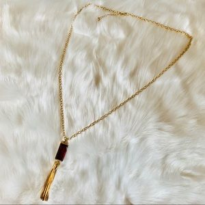 ⭐️ Long Golden Chain with Ruby Tassel Necklace